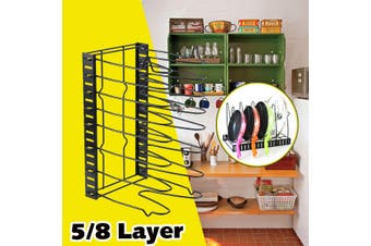 8 Layer Black Kitchen Storage Racks For Pot Cover, Pan, Chopping board