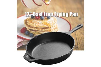 12'' Cast Iron Frying Pan No-Coating Sauce pan Skillet Kitchen Home + Wooden