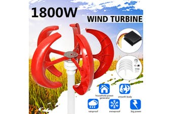 1800W 12V Wind Turbine Generator 5 Blade Windmill Power Charge+ Controller