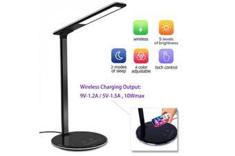 Black 10W Qi Wireless Charger LED Desk Lamp Phone Holder