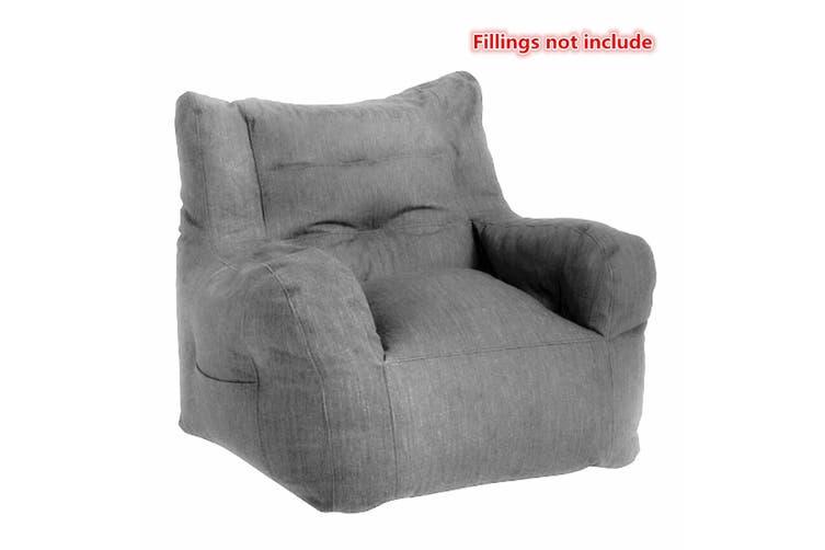 80x80x75cm New Luxury Bean Bag Cover Armchair Beanbag Sofa/Chair Armrest Book Pocket【No Fillings】