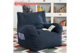 80x80x75cm New Luxury Bean Bag Cover Armchair Beanbag Sofa/Chair Armrest Book Pocket【No Fillings】(navy)
