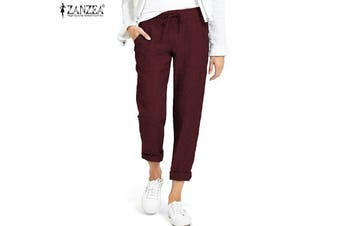 ZANZEA Women Casual Long Pants Elastic Waist Plain Solid Harem Pants Trousers(winered,L)