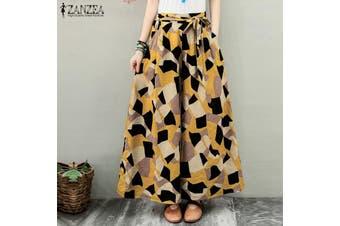 ZANZEA Elastic Waist Casual Check Print Long Pants Wide Legs Baggy Trouser For Women(yellow,M)