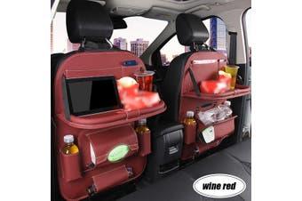 1pc Car Seat Back PU Leather Organizer Tidy Pocket Storage Bag Holder Table Travel