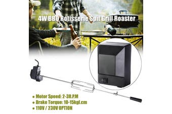 4W Stainless Steel Rotisserie Spit Grill Roaster Rod Camping Charcoal BBQ Kits # EU Plug