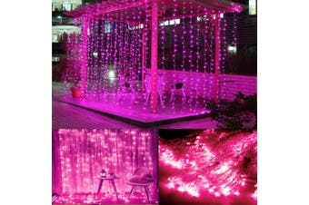 3x10M Pink Light 1000 LED Window Curtain Lights Fairy String Lights Indoor Outdoor Wall Decorations Christmas Twinkle Lights for Bedroom, Parties, Wedding Backdrop, Patio(AU Plug)