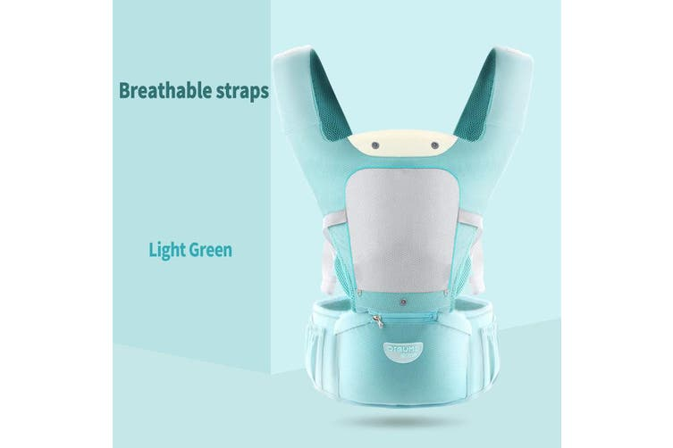 Infant Baby Newborn Carrier W/ Hip Seat Stool Adjustable Wrap Sling Backpack Breathable-Light Green