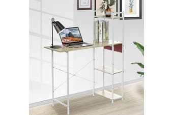 Cheery Wood Computer Desk with White Shelves Computer Table Variety of Display Office Table with 4 Tier Bookshelf Study for Home Office
