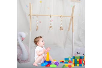 Wood Baby Play Stand Toy Nursery Fun Hanging Toys Mobile Wood Rack Activity Gym
