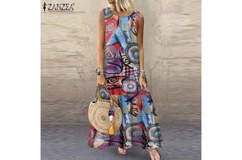 ZANZEA Women Summer Long Maxi Sundress Kaftan Sleeveless Printed Dress
