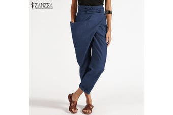 ZANZEA Women Zipper Belt Harem Pant Ladies Casual Baggy Irregular Trousers Plus Size(blue,XL)