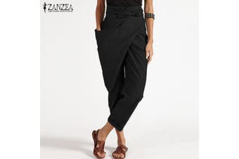 ZANZEA Women Zipper Belt Harem Pant Ladies Casual Baggy Irregular Trousers Plus Size(black,XL)