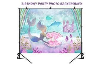Mermaid Photography Backdrop Undersea Birthday Party Photo Props Background 02