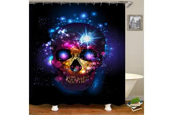 Halloween Bathroom Decor Skull Waterproof Fabric Shower Curtain Panel Sheer Set