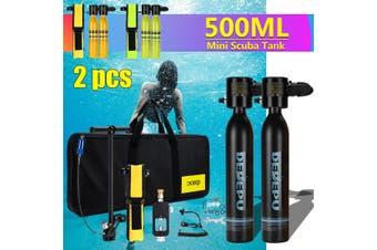 2X respirator + high pressure air pump + scuba adapter + Handbag + respirator bag + two bottles of mini submersible oxygen bottle set equipment with missing rope(black)