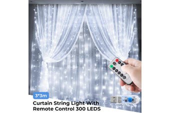 3M x 3M 300 LED Curtain Fairy Lights USB String Hanging Wall Lights IP65 Waterproof Garland Christmas Wedding Party With Remote Control Festivals Decoration (white,USB with remote)