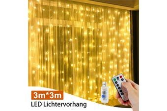 3M x 3M 300 LED Curtain Fairy Lights USB String Hanging Wall Lights IP65 Waterproof Garland Christmas Wedding Party With Remote Control Festivals Decoration (warmwhite,USB with remote)