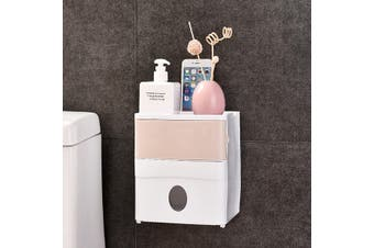 Multifunctional Double Tissue Box Cover Self Adhesive Toilet Paper Holder Bathroom Wall Mount Waterproof Tissue Box Holder Storage Box