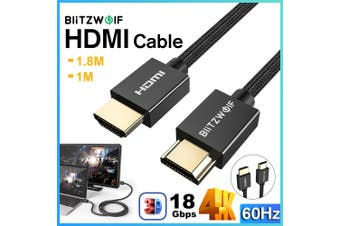 BlitzWolf 1M/1.8M HDMI Cable High-Definition Multimedia Interface A-A Cable 4K 60Hz HD 3D Capable 18Gbps Broad Compatibility Audio Video Cable for PC TV(1.8 m)