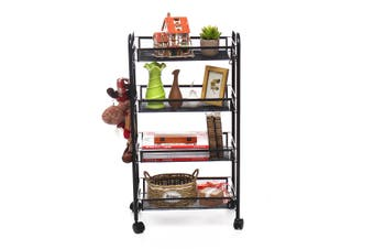 【Free Shipping】 AUGIENB 4-Tier Basket Stand Kitchen Bathroom Trolley Full-Metal Rolling Storage Cart with Lockable Wheels 4 Side Hooks and Shelves Utility Mesh Wire 66 lbs(black,4 Tiers)