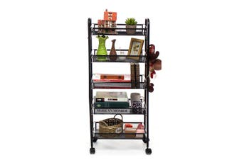 【Free Shipping】 AUGIENB 5-Tier Basket Stand Kitchen Bathroom Trolley Full-Metal Rolling Storage Cart with Lockable Wheels 4 Side Hooks and Shelves Utility Mesh Wire 66 lbs(black,5 Tiers)