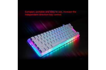 66keys Gateron Switch Mechanical Gaming Keyboard USB 3.1 Wired RGB LED Light-Black/Brown/Blue/Red Switch(white,Black Switch)