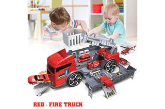 New children's engineering vehicle set simulation parking children's educational toys deformation toy storage parking lot parent-child interaction inertia car model set(red,Type 3(Red))