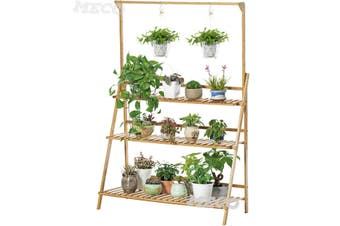 100cm BAMBOO SHELF FOLDING 3TIER LADDER BOOK PLANT STAND WITH HANGING BAR Holder