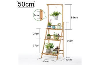 Plant Stand Shelf Indoor Tiered Wood Plant Flower Pots Shelves Rack Holder Stand Indoor Outdoor for Multiple Plants Garden Balcony Patio Living Room(50 cm)