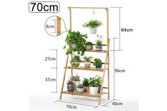 70cm BAMBOO SHELF FOLDING 3TIER LADDER BOOK PLANT STAND WITH HANGING BAR Holder