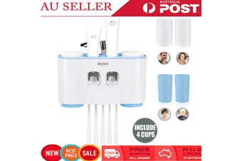 4X Washing Cup + 5X Toothbrush Holder + Toothpaste Dispenser, All in 1 Wall Mount Set Rack Stick Firmly for Family Bathroom