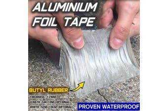 1.2mmX5cmX5mAluminum Waterproof Sealed Foil Butyl Rubber Tape Self Adhesive Roof Pipe Marine Repair