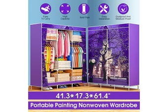 3D Painting Nonwoven Fabric Wardrobes Steel Frame Reinforcement Standing Storage -- Purple / Green / Blue