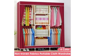 "Portable Wardrobe Home Clothes Rack Shelves Closet Storage Organizer 69 x 50 x 17"" -- Green / Purple / Red / Blue"