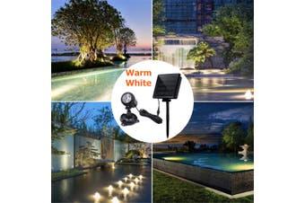 LED Underwater Spot Landscape Solar Lights IP68 Garden Fountain Pond Pool Lamp(Warm white Light)