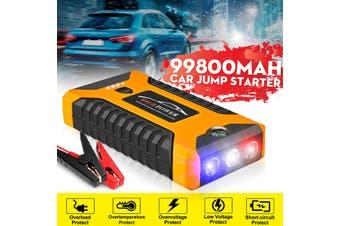 12V 99800mAh Car Jump Starter 4USB Emergency Auto Power Bank Rechargable Battery(yellow,AU plug)