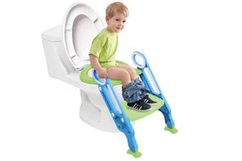 4 Color Kid Children Folding Toilet Training Step Stools Seat Foldable Potties Seat With Adjustable Ladder Safe Handles Soft Pad