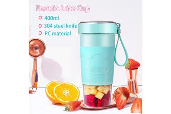 Juicer Outdoor Accompanying Cup Portable Juicer Charging Wireless Juice Cup Juice Blender 400ml(blue,400ml 2 Blades)