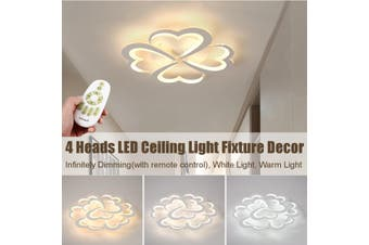 Dimmable Modern Acrylic LED Ceiling Light 4 Heart Lamp Home Bedroom Fixture