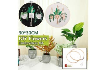 30x30cm DIY Handmade Embroidery Flower Pattern Embroidery Fabric Stitch Needlework Practice Kits Sewing Handcraft Kits(Type B(With Embroidery Hoop ))