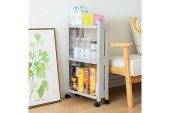 2/3 Layers Storage Rack Shelf Organizer Slim Space Saving Wheels Kitchen Bathroom Movable