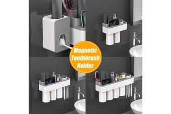 Magnetic Plastic Toothbrush Holder Storage Rack Shelf Toothpaste Dispenser Holder 2/3/4Cups(For 4People)