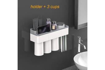 Magnetic Plastic Toothbrush Holder Storage Rack Shelf Toothpaste Dispenser Holder 2/3/4Cups