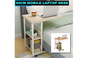 60x40cm Rolling Desk Laptop Table Cart Holder Mobile Bedside Stand Home Office