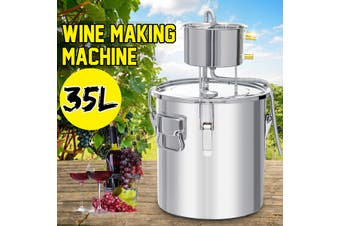 11L/22L/35L Alcohol Distiller Stainless Steel Boiler Distilled Water Purification Steamed Brewing Machine Wine Maker Equipment Making Tool Household Bar Home Kitchen(silver,9 gallon)