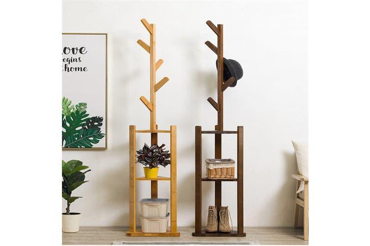 180cm Bamboo Floor Coat Rack Living Room Bedroom Clothes Hanger Storage Holder