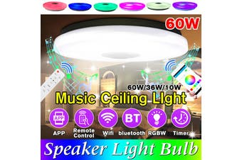 36/60W Modern RGB LED Music Ceiling Light bluetooth Speaker Multi Color Bedroom Lamp APP Remote