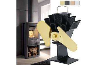 2 Blade 210CFM Aluminum Heat Powered Stove Fan Burner Wood Log Fireplace Ecofan(copper)