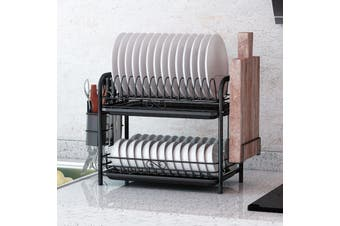 2/3 Layer Iron Cutlery Storage Rack Drain Holder Chopping Board Basket Plated Home